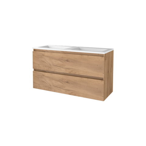 Basic Line 46 badmeubel 120x46cm - greeploos - 2 laden - acryl wastafel zonder kraangat - Whisky Oak