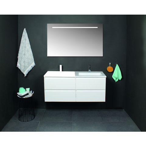 Basic Line 46 badmeubel 120x46cm - opbouwgrepen - 2 laden - acryl wastafel met 2 kraangaten - Ice White