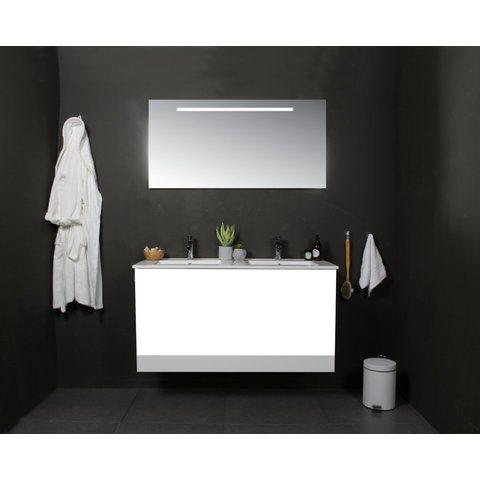 Basic Line 46 badmeubel 80x46cm - greeploos - 2 laden - porseleinen wastafel met 1 kraangat - Ice White