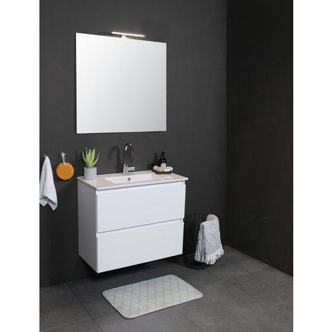 Basic Line 46 badmeubel 50x46cm - opbouwgrepen - 2 laden - porseleinen wastafel met 1 kraangat - Ice White
