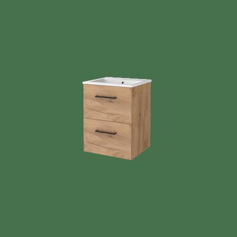 Basic Line 46 badmeubel 50x46cm - opbouwgrepen - 2 laden - porseleinen wastafel met 1 kraangat - Whisky Oak