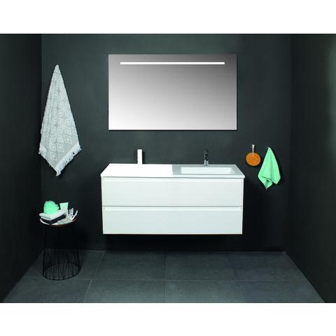 Basic Line 46 badmeubel 50x46cm - greeploos - 2 laden - acryl wastafel zonder kraangat - Ice White