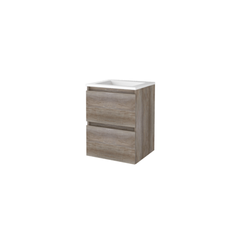 Basic Line 46 badmeubel 50x46cm - greeploos - 2 laden - acryl wastafel zonder kraangat - Scotch Oak