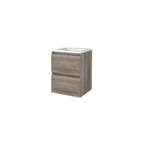 Basic Line 46 badmeubel 50x46cm - greeploos - 2 laden - acryl wastafel met 1 kraangat - Scotch Oak