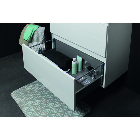 Basic Line 46 badmeubel 60x46cm - greeploos - 2 laden - acryl wastafel met 1 kraangat - Ice White