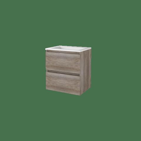 Basic Line 46 badmeubel 60x46cm - greeploos - 2 laden - acryl wastafel met 1 kraangat - Scotch Oak