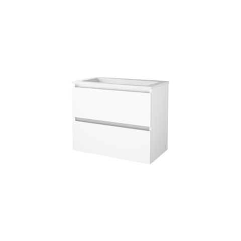 Basic Line 46 badmeubel 80x46cm - greeploos - 2 laden - acryl wastafel zonder kraangat - Ice White