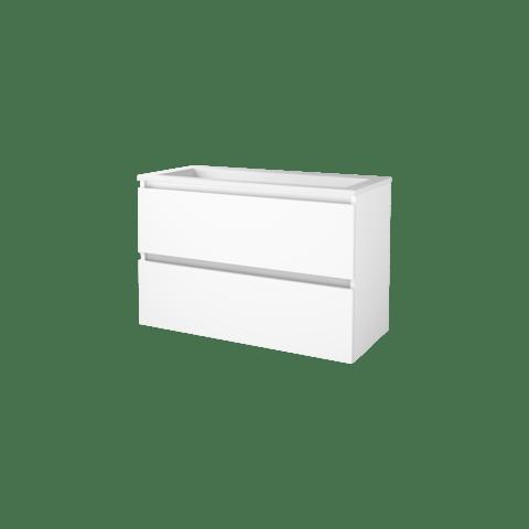 Basic Line 46 badmeubel 100x46cm - greeploos - 2 laden - acryl wastafel zonder kraangat - Ice White