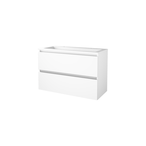 Basic Line 46 badmeubel 100x46cm - greeploos - 2 laden - acryl wastafel met 2 kraangaten - Ice White