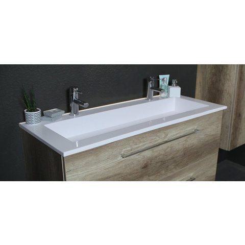 Basic Line 46 badmeubel 50x46cm - opbouwgrepen - 2 laden - acryl wastafel zonder kraangat - Scotch Oak