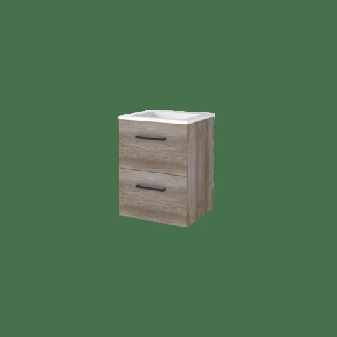 Basic Line 46 badmeubel 50x46cm  - opbouwgrepen - 2 laden - acryl wastafel met 1 kraangat - Scotch Oak
