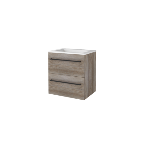 Basic Line 46 badmeubel 60x46cm - opbouwgrepen - 2 laden - acryl wastafel zonder kraangat - Scotch Oak