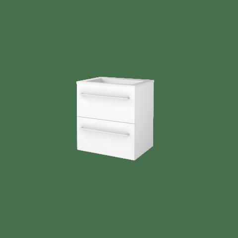 Basic Line 46 badmeubel 60x46cm - opbouwgrepen - 2 laden - acryl wastafel met 1 kraangat - Ice White