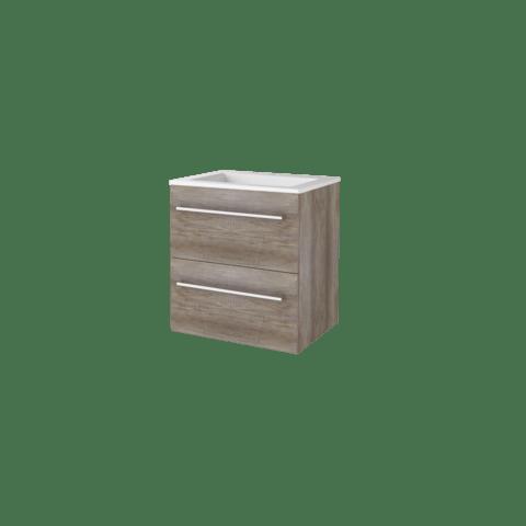 Basic Line 46 badmeubel 60x46cm - opbouwgrepen - 2 laden - acryl wastafel met 1 kraangat - Scotch Oak