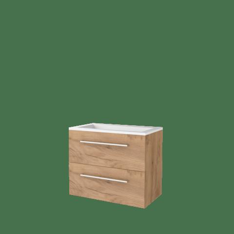 Basic Line 46 badmeubel 80x46cm - opbouwgrepen - 2 laden - acryl wastafel zonder kraangat - Whisky Oak