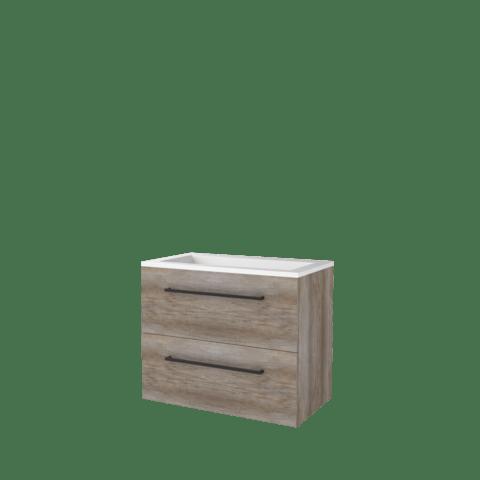 Basic Line 46 badmeubel 80x46cm - opbouwgrepen - 2 laden - acryl wastafel zonder kraangat - Scotch Oak