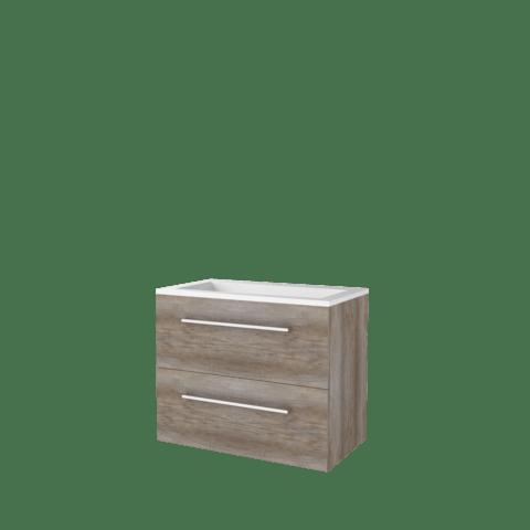 Basic Line 46 badmeubel 80x46cm - opbouwgrepen - 2 laden - acryl wastafel met 1 kraangat - Scotch Oak