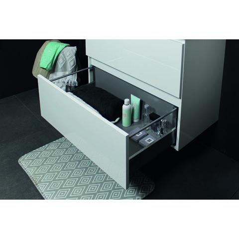 Basic Line 46 badmeubel 100x46cm - opbouwgrepen - 2 laden - acryl wastafel met 1 kraangat - Ice White