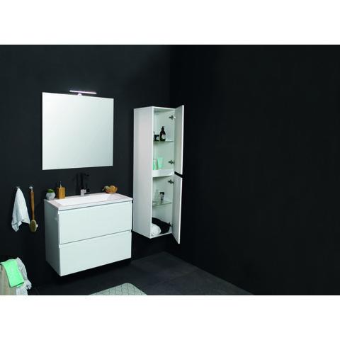 Basic Line 46 badmeubel 100x46cm - opbouwgrepen - 2 laden - acryl wastafel met 2 kraangaten - Ice White