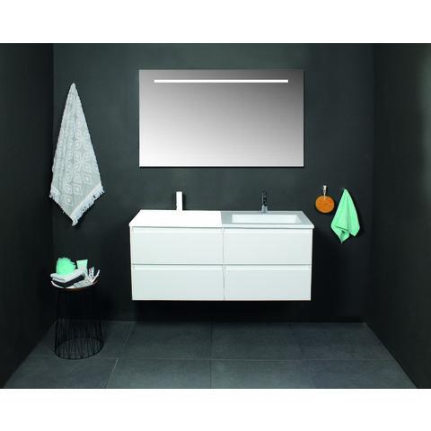 Basic Line 46 badmeubel 120x46cm (2x onderkast 60cm) - opbouwgrepen - 4 laden - acryl wastafel zonder kraangat - Ice White