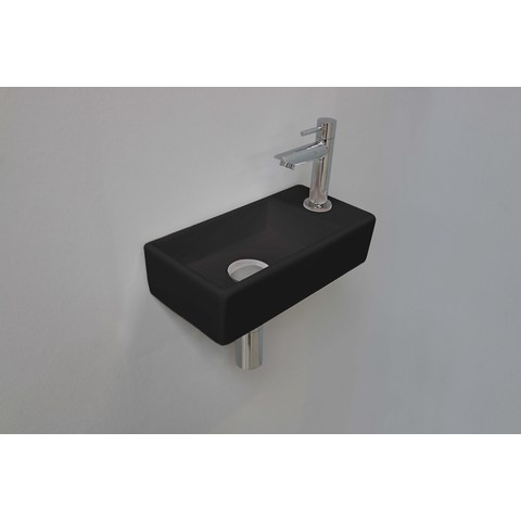 Ink Versus fonteinpack - rechts - porselein mat zwart - toebehoren chroom