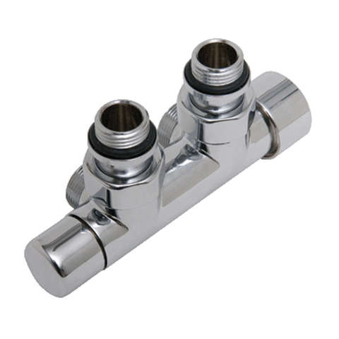 Das Radiatoren  kraanset blok haaks 1/2 thermostatisch regelelement chroom/wit  t.b.v. 15mm pijp chroom