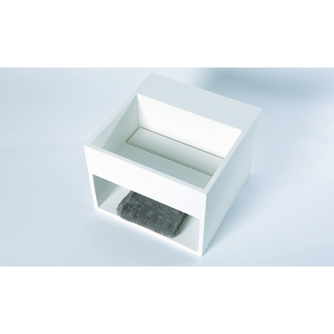 Luca Sanitair  fontein/wastafel vierkant met schap 32,5x32,5x25h in solid surface, kraangat door te boren mat wit