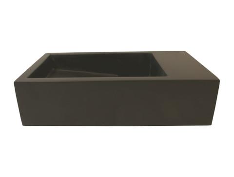 Luca Sanitair  fontein 35x18,5x9h in solid surface zonder kraangat, l+r te plaatsen, ophang doorboren antraciet mat