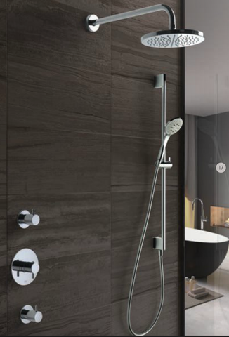 Hotbath IBS 2R Get Together inbouw doucheset Laddy rond - geborsteld nikkel - met ronde 3 standen handdouche - 20cm hoofddouche - met wandarm - zonder glijstang