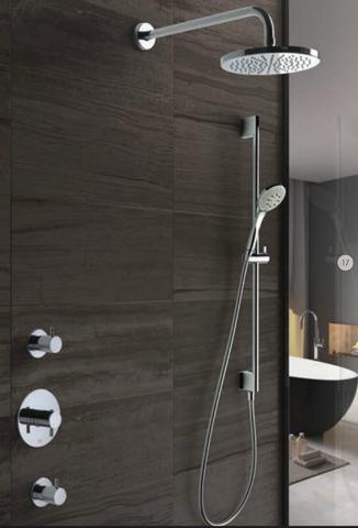 Hotbath IBS 2R Get Together inbouw doucheset Laddy rond - geborsteld nikkel - met ronde 3 standen handdouche - 30cm hoofddouche - met plafondbuis 30cm - met glijstang