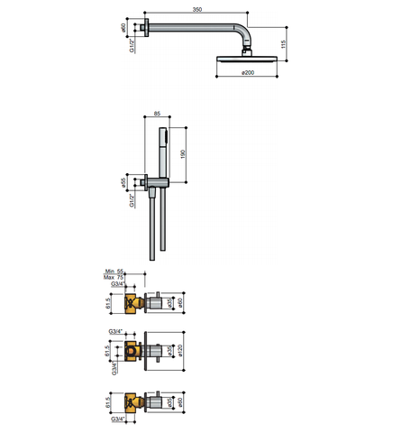 Hotbath IBS 2R Get Together inbouw doucheset Laddy rond - geborsteld nikkel - met ronde 3 standen handdouche - 25cm hoofddouche - met wandarm - met glijstang