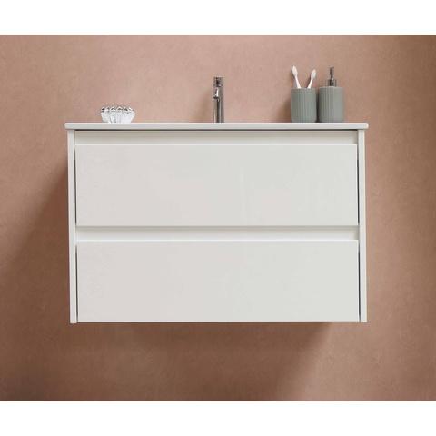 Bewonen Elegant badmeubel met porselein wastafel zonder kraangat en onderkast met schap - Raw oak/Glans wit - 80x46cm (bxd)
