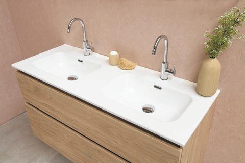 Bewonen Elegant badmeubel met porselein wastafel enkel met 1 kraangat en onderkast met schap - Raw oak/Glans wit - 120x46cm (bxd)