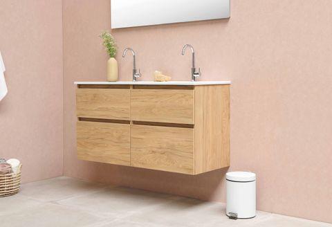 Bewonen Elegant badmeubel met porselein wastafel dubbel zonder kraangaten en onderkast met schap - Raw oak/Glans wit - 120x46cm (bxd)