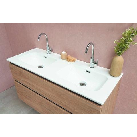 Bewonen Elegant badmeubel met porselein wastafel dubbel met 2 kraangaten en onderkast met schap - Raw oak/Glans wit - 120x46cm (bxd)