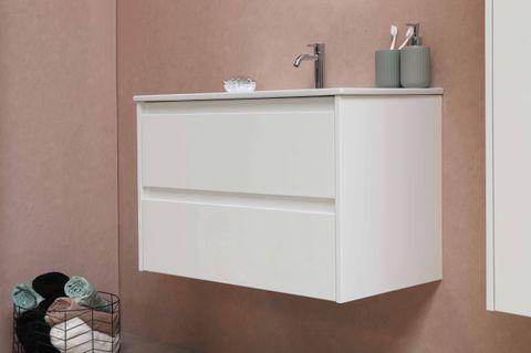 Bewonen Elegant badmeubel met porselein wastafel zonder kraangat en onderkast symmetrisch - Raw oak/Glans wit - 60x46cm (bxd)