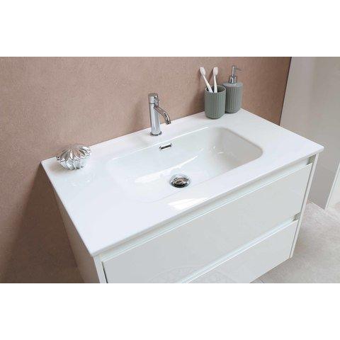 Bewonen Elegant badmeubel met porselein wastafel met 1 kraangat en onderkast symmetrisch - Glans wit/Glans wit - 80x46cm (bxd)