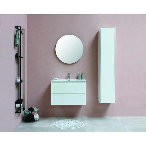 Bewonen Elegant badmeubel met porselein wastafel met 1 kraangat en onderkast symmetrisch - Glans wit/Glans wit - 100x46cm (bxd)