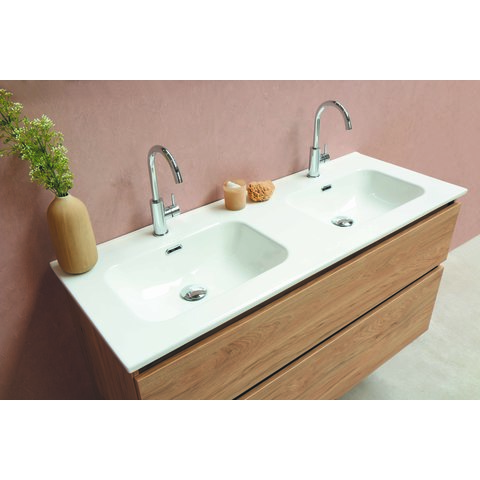 Bewonen Elegant badmeubel met keramische wastafel enkel met 1 kraangat en onderkast symmetrisch - Glans wit - 120x46cm (bxd)