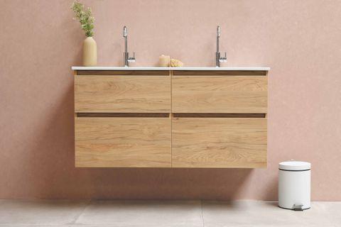 Bewonen Elegant badmeubel met porselein wastafel enkel met 1 kraangat en onderkast symmetrisch - Raw oak/Glans wit - 120x46cm (bxd)