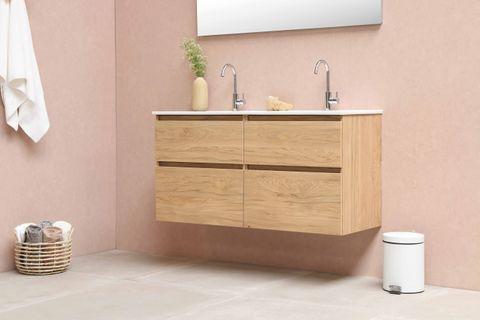 Bewonen Elegant badmeubel met porselein wastafel dubbel met 2 kraangaten en onderkast symmetrisch - Glans wit/Glans wit - 120x46cm (bxd)