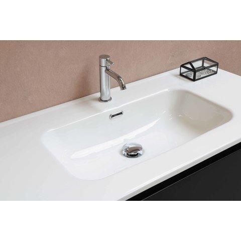 Bewonen Elegant badmeubel met keramische wastafel dubbel zonder kraangaten en onderkast symmetrisch - Mat zwart - 120x46cm (bxd)