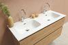 Bewonen Elegant badmeubel met porselein wastafel dubbel met 2 kraangaten en onderkast symmetrisch - Raw oak/Glans wit - 120x46cm (bxd)