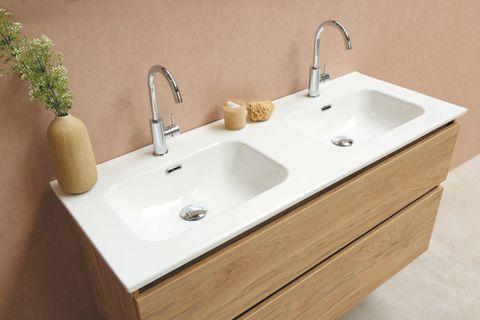 Bewonen Elegant badmeubel met porselein wastafel dubbel met 2 kraangaten en onderkast symmetrisch - Cabana oak/Glans wit - 120x46cm (bxd)