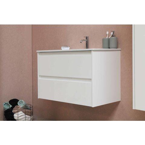 Bewonen Elegant badmeubel met porselein wastafel zonder kraangat en onderkast a-symmetrisch - Mat zwart/Glans wit - 80x46cm (bxd)
