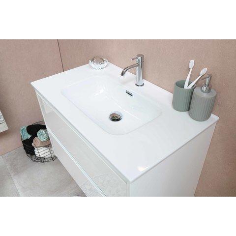 Bewonen Elegant badmeubel met porselein wastafel zonder kraangat en onderkast a-symmetrisch - Mat zwart/Glans wit - 100x46cm (bxd)