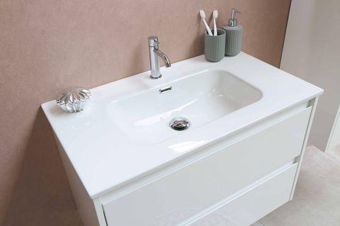 Bewonen Elegant badmeubel met porselein wastafel zonder kraangat en onderkast a-symmetrisch - Ideal oak/Glans wit - 100x46cm (bxd)