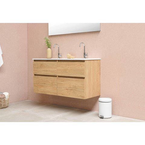 Bewonen Elegant badmeubel met porselein wastafel enkel met 1 kraangat en onderkast a-symmetrisch - Cabana oak/Glans wit - 120x46cm (bxd)