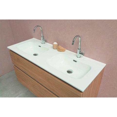 Bewonen Elegant badmeubel met porselein wastafel dubbel met 2 kraangaten en onderkast a-symmetrisch - Glans wit/Glans wit - 120x46cm (bxd)