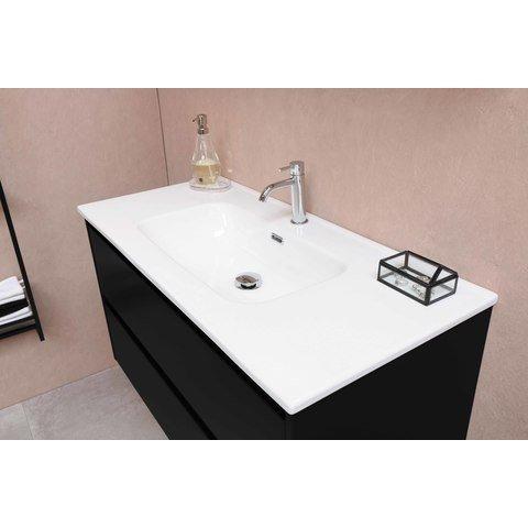 Bewonen Elegant badmeubel met keramische wastafel dubbel met 2 kraangaten en onderkast a-symmetrisch - Mat wit - 120x46cm (bxd)